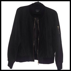 Faux Suede Black Bomber Jacket